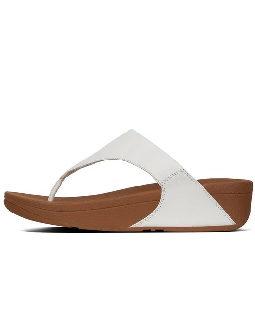 9033095ac ... Fitflop - White Lulu Leather Womens Toe Post Sandals - Lyst