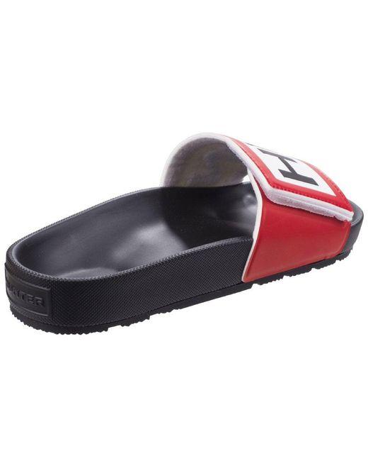 b7ed40f8a ... Hunter - Black Original Logo Mens Slide Sandals for Men - Lyst ...