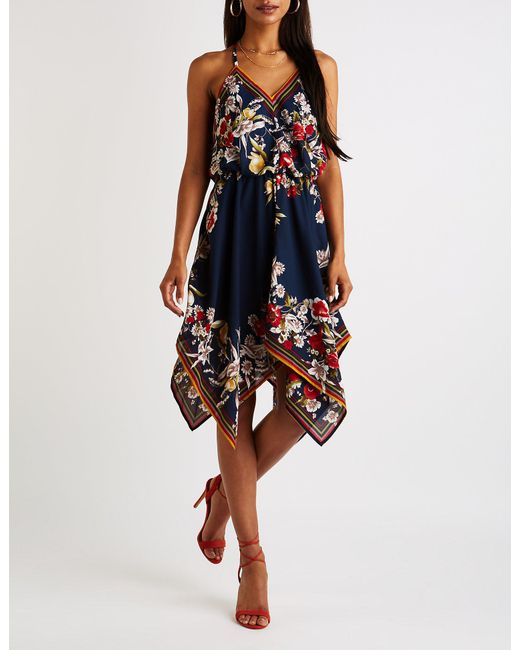 391a2963eb32 Charlotte Russe - Blue Floral Handkerchief Hem Dress - Lyst ...