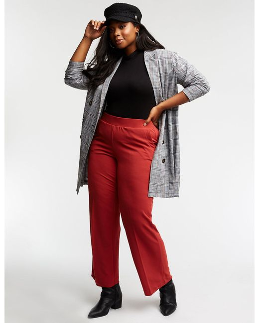 322ee30f3e3 Lyst - Charlotte Russe Plus Size Wide Leg Pants in Red