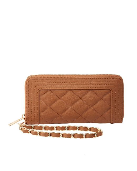 Charlotte Russe - Brown Quilted Wristlet Wallet - Lyst