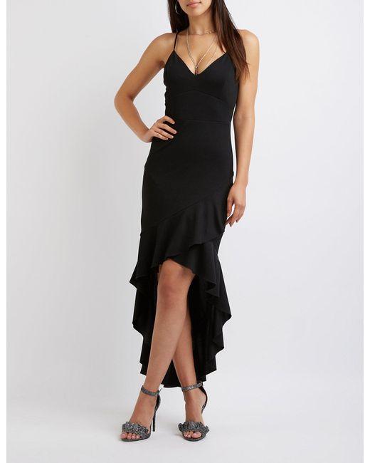 Lyst Charlotte Russe Ruffle Trim High Low Midi Dress In Black