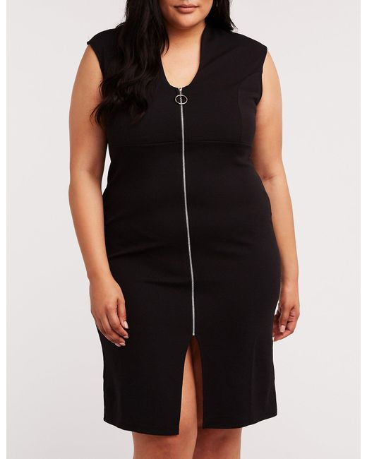 Women\'s Black Plus Size Zip Front Bodycon Dress