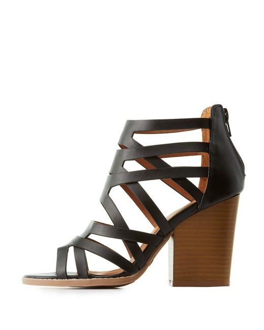 Charlotte Russe - Black Qupid Caged Block Heel Sandals - Lyst