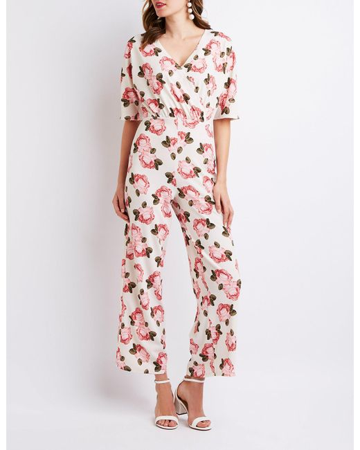 c8a15f58979 Charlotte Russe - Multicolor Floral Kimono Sleeve Jumpsuit - Lyst ...