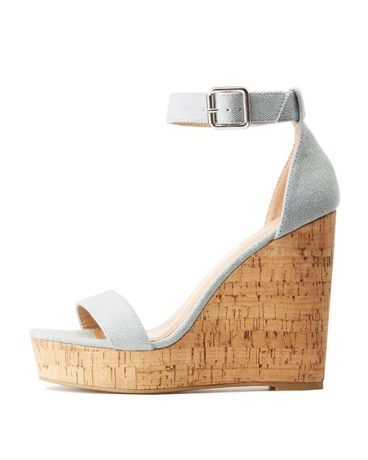 0a8a3aaf88ff Lyst - Charlotte Russe Chambray Ankle Strap Wedge Sandals in Blue ...