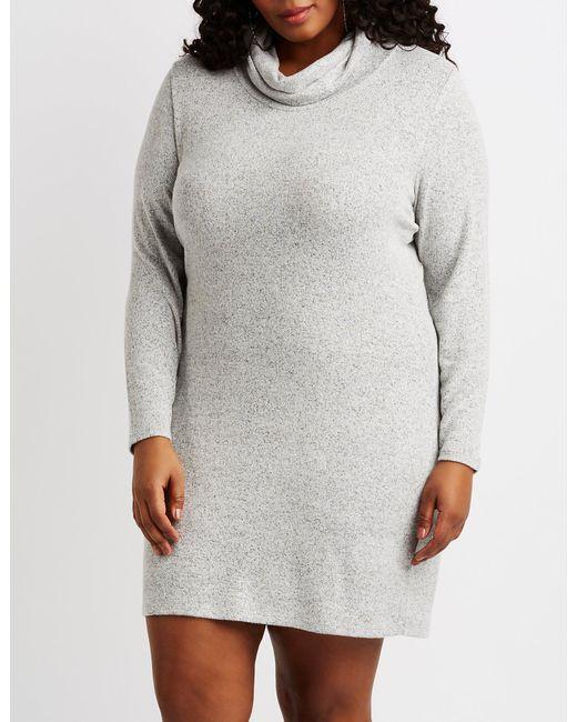 Lyst Charlotte Russe Plus Size Hacci Knit Cowl Neck Sweater Dress