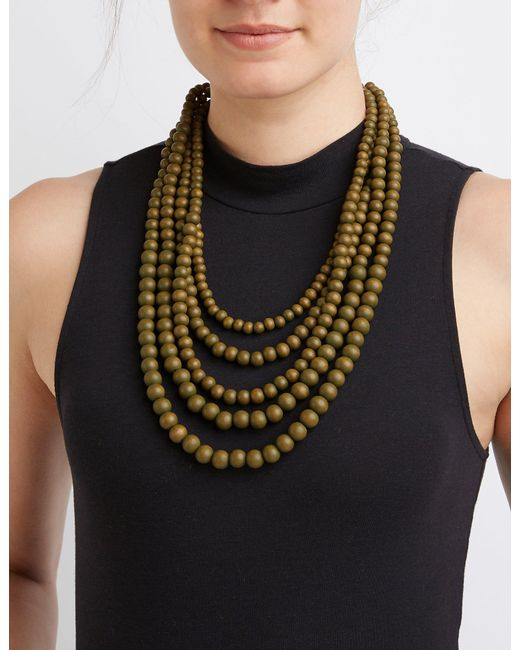 Charlotte Russe - Metallic Multi-beaded Layering Necklace - Lyst