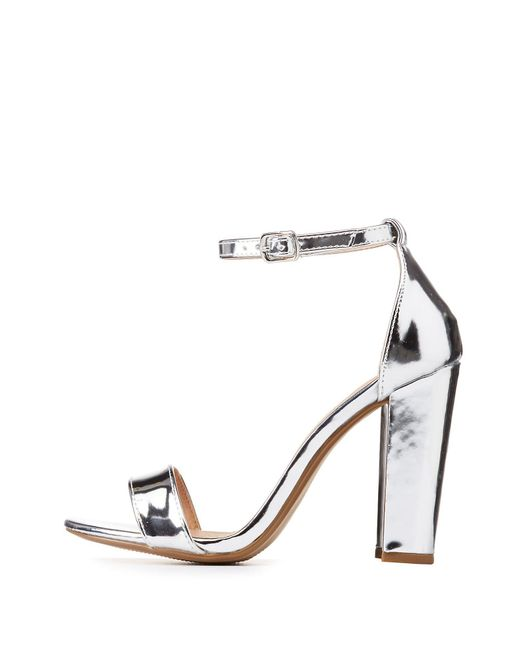 Charlotte Russe - Metallic Becca Ankle Strap Heeled Sandals - Lyst