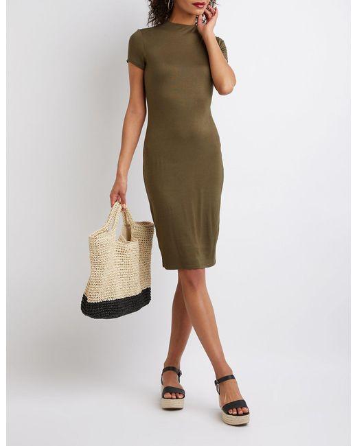 2380d741101 Charlotte Russe - Green Mock Neck Bodycon Midi Dress - Lyst ...