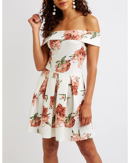 8e33c616f62 Charlotte Russe - White Floral Off The Shoulder Skater Dress - Lyst ...
