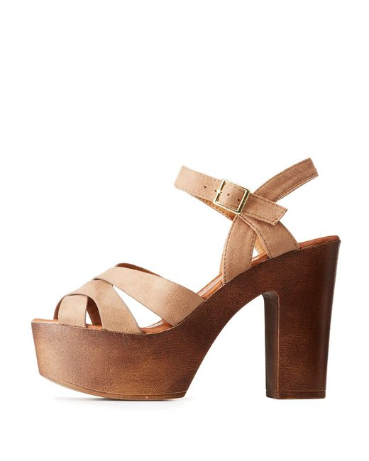 Charlotte Russe - Brown Qupid Crisscross Block Heel Sandals - Lyst