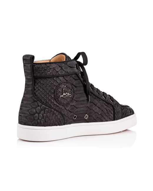 025bc498a2c ... reduced christian louboutin black rantus flat python sneakers for men  lyst 3d385 73bd4