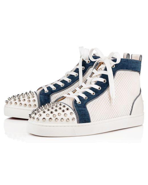 5e1e3264984f Christian Louboutin - Blue Ac Lou Spikes Orlato Flat for Men - Lyst ...