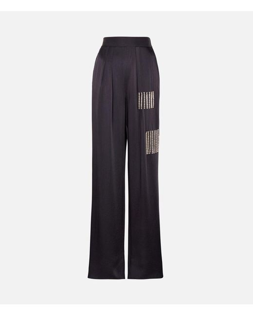 Christopher Kane - Blue Crystal Tie Satin Trousers - Lyst