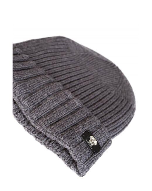 50d38914d45b ... Versace - Gray Mainline Leather Medusa Plaque Beanie Grey for Men -  Lyst ...