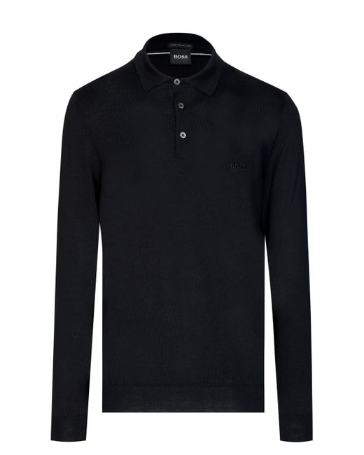 4c5c3d76 Boss Bono Long Sleeve Knitted Polo Black in Black for Men - Lyst