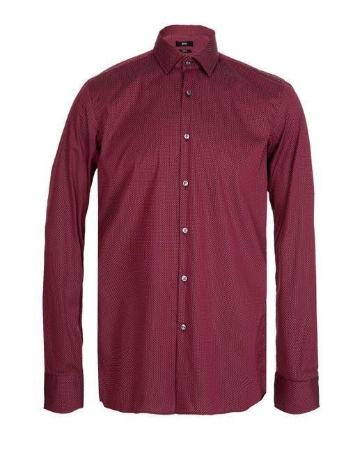 BOSS Hugo Jenno Slim Fit Cotton Shirt Red for men