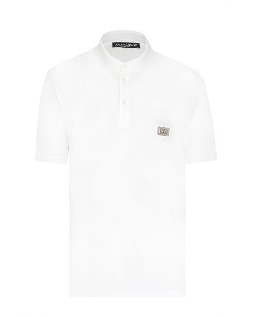 2daaff05b Dolce & Gabbana - White Plaque Logo Polo Shirt for Men - Lyst ...