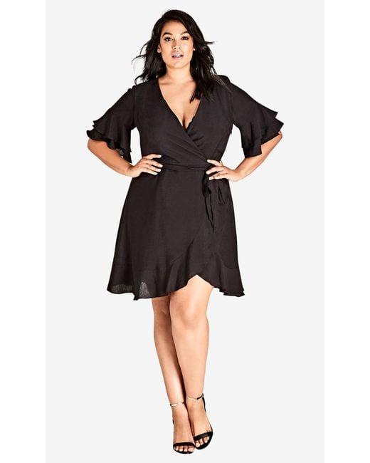 City Chic - Black Flounce Sleeve Dress - Lyst