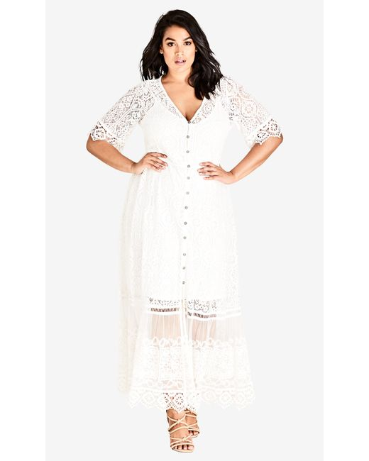 City Chic Trendy Plus Size Lace Maxi Dress in White - Save 30% - Lyst