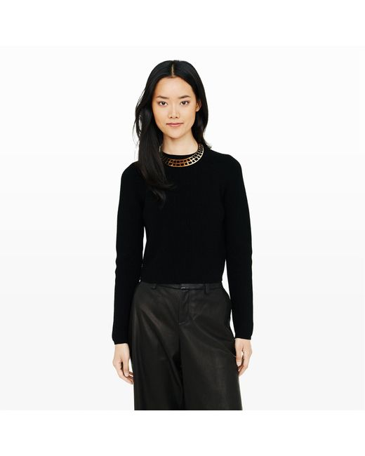 Club Monaco | Black Heloise Crop Sweater | Lyst
