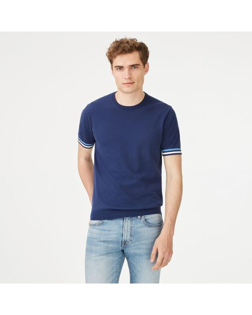 Club Monaco | Blue Short-sleeve Stripe Crew for Men | Lyst