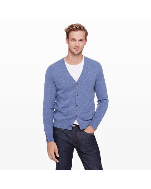 Club Monaco - Blue Cashmere Cardigan for Men - Lyst