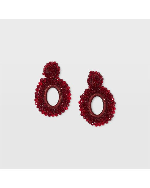 Club Monaco | Red Beaded Hoop Earring | Lyst