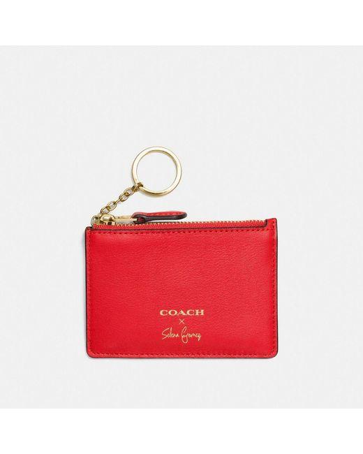 COACH   Red Selena Mini Skinny Id Case In Refined Calf Leather   Lyst