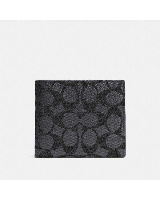 COACH - Black Compact Id Wallet In Signature Coated Canvas for Men - Lyst