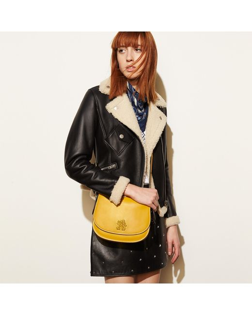 Coach Mickey Saddle 23 Leather Cross Body Bag In Yellow