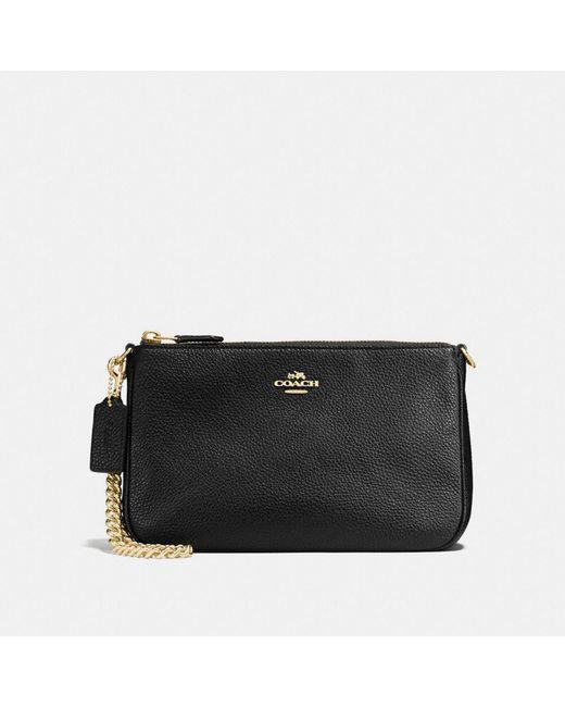 COACH - Black Nolita Wristlet 22 In Polished Pebble Leather - Lyst