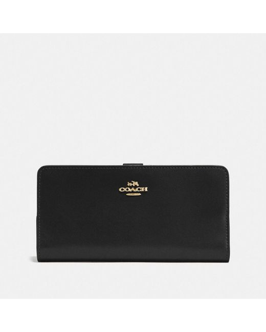 COACH | Black Skinny Wallet In Refined Calf Leather | Lyst