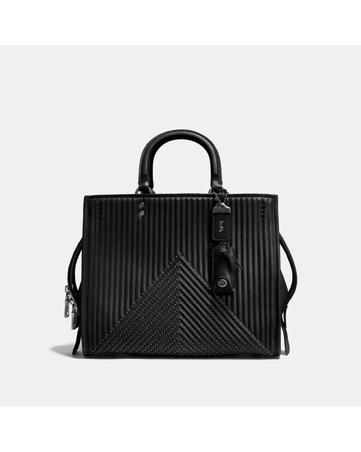 COACH - Black Rogue With Quilting And Rivets - Lyst
