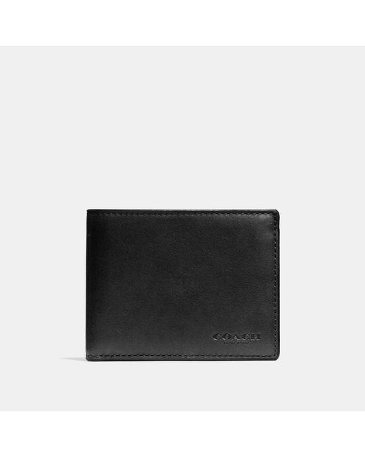 COACH - Black Slim Billfold Id Wallet In Sport Calf Leather for Men - Lyst