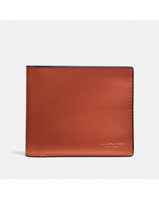 COACH | Orange 3-in-1 Wallet In Burnished Sport Calf Leather for Men | Lyst