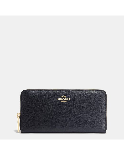 COACH | Blue Accordion Zip Wallet In Polished Pebble Leather | Lyst