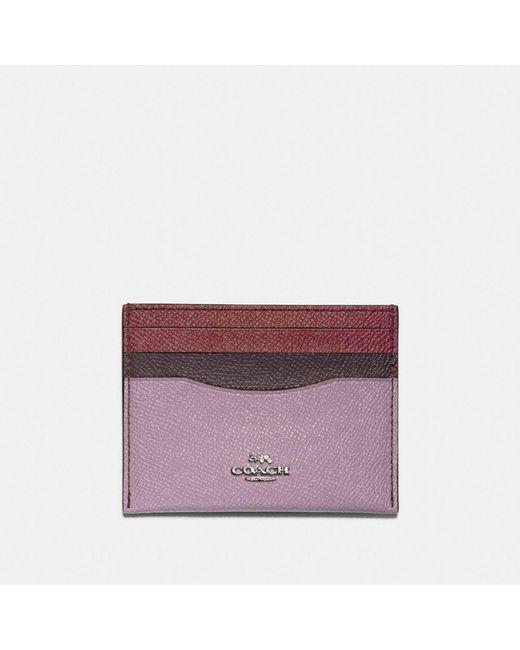 COACH - Purple Card Case In Colorblock - Lyst