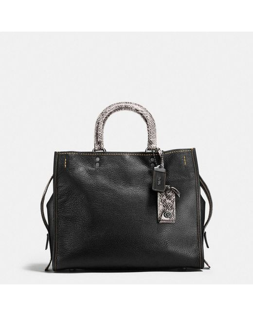 COACH | Black Rogue In Glovetanned Pebble Leather With Colorblock Snake | Lyst