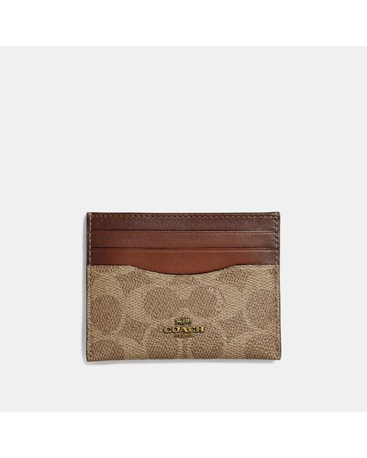 COACH - Brown Card Case In Colorblock Signature Canvas - Lyst
