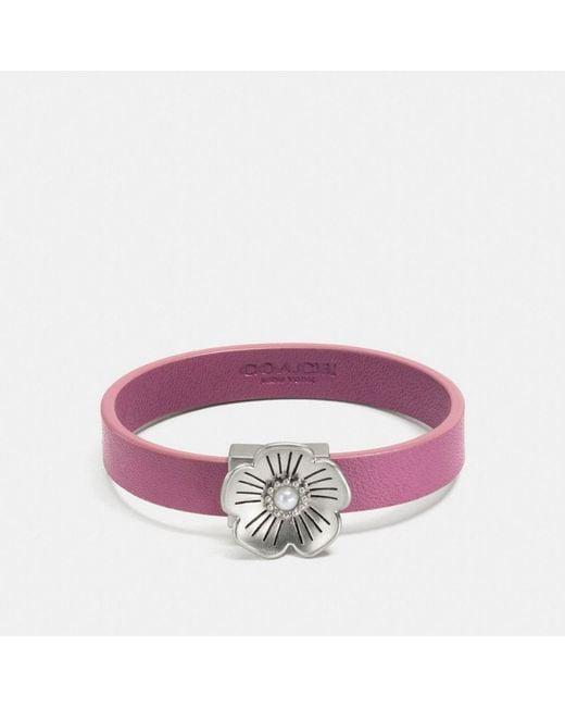 COACH | Purple Willow Floral Leather Bracelet | Lyst