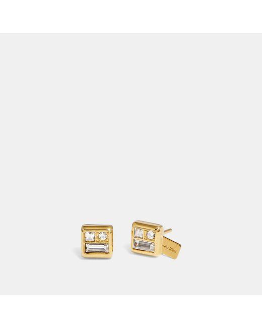 COACH - Metallic Antique Crystal Stud Earrings - Lyst