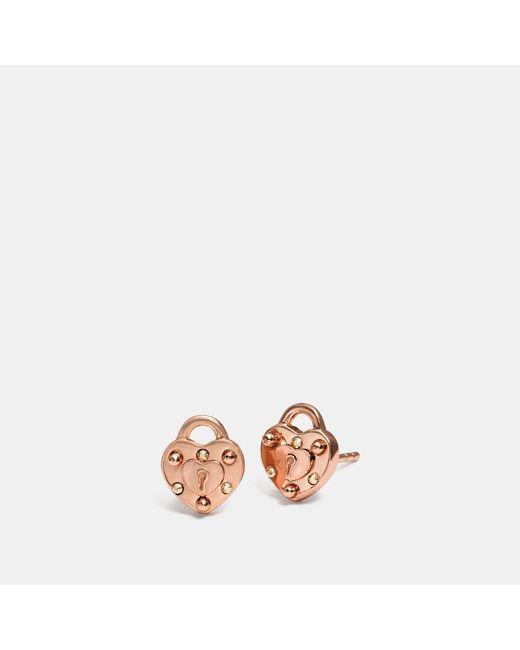 COACH - Multicolor Mini Demi-fine Padlock Heart Stud Earrings - Lyst