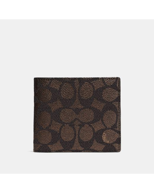 COACH - Multicolor Compact Id Wallet In Signature Coated Canvas for Men - Lyst