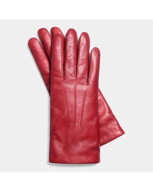 COACH | Red Short Leather Glove | Lyst