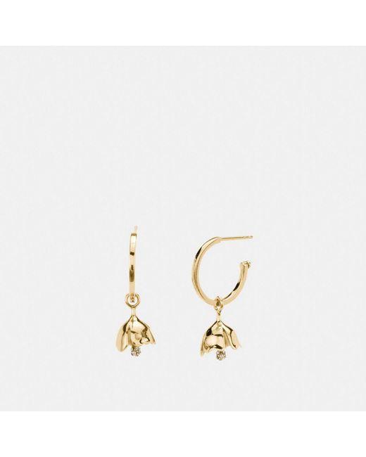 COACH | Metallic Mini Tea Rose Charm Hoop Earrings | Lyst
