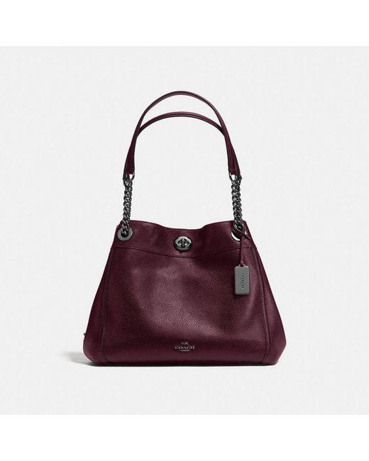 COACH | Pink Turnlock Edie Shoulder Bag In Polished Pebble Leather | Lyst