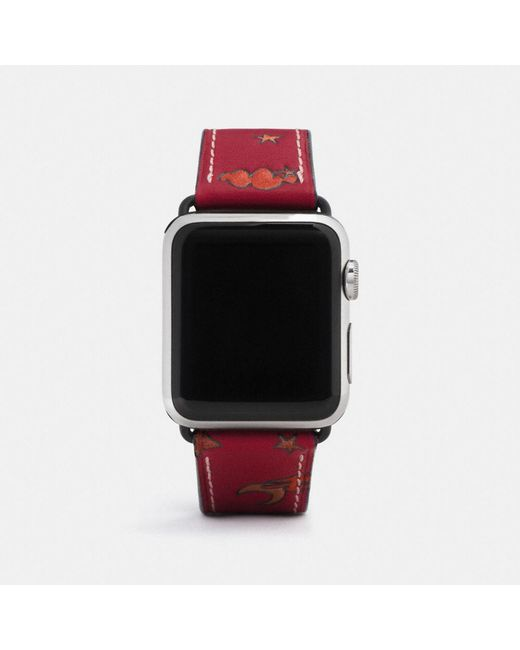 COACH - Red Apple Watch Strap With Prints - Lyst
