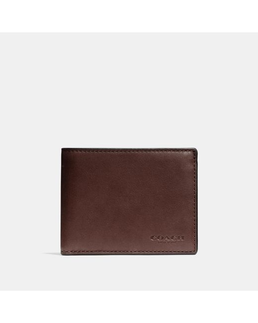 COACH - Brown Slim Billfold Id Wallet In Sport Calf Leather for Men - Lyst